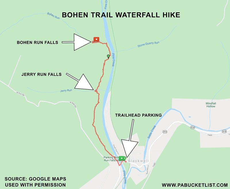 A map showing the locations of Bohen Run Falls and Jerry Run Falls.
