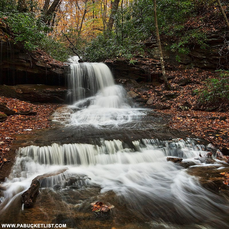 Fall foliage at Cave Falls on Cole Run in the Laurel Highlands.