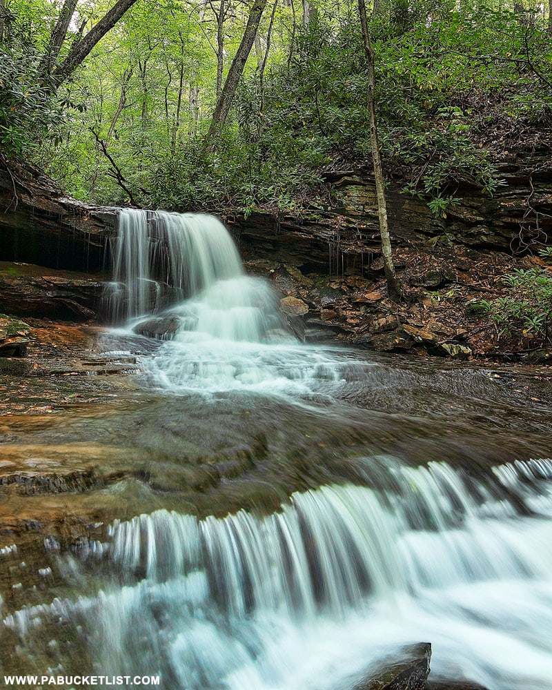 A summer scene at Cave Falls on Cole Run in Somerset County, PA.