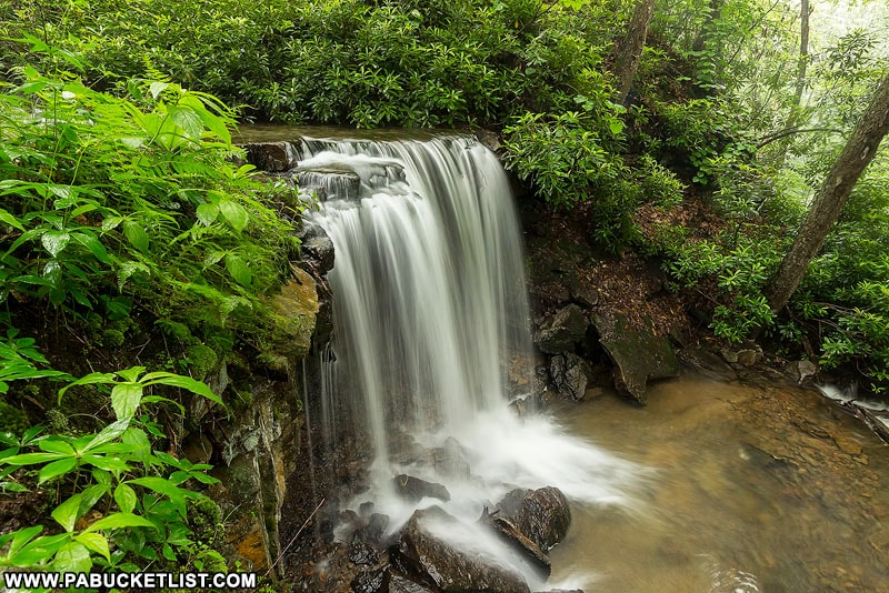 A side view of Cole Run Falls in the Laurel Highlands.