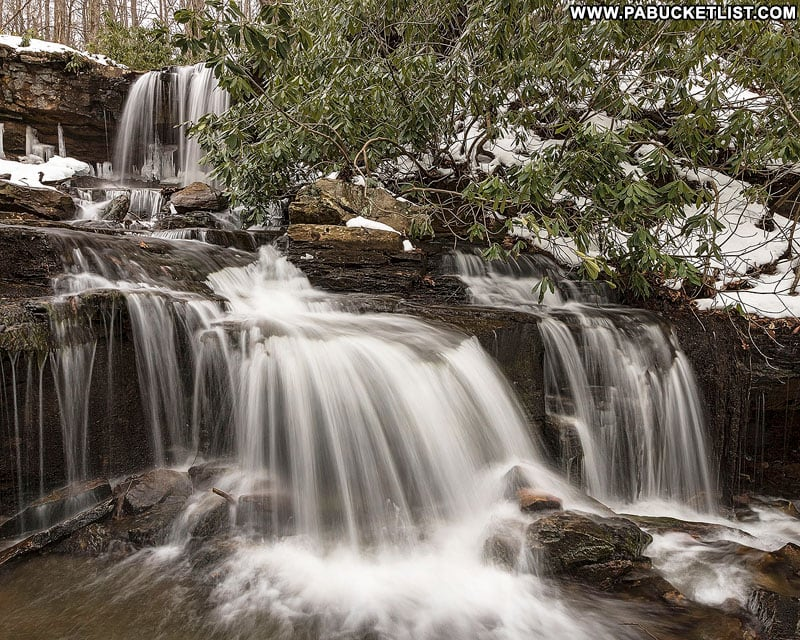 The upper and lower tiers of Cole Run Falls in Somerset County, PA.