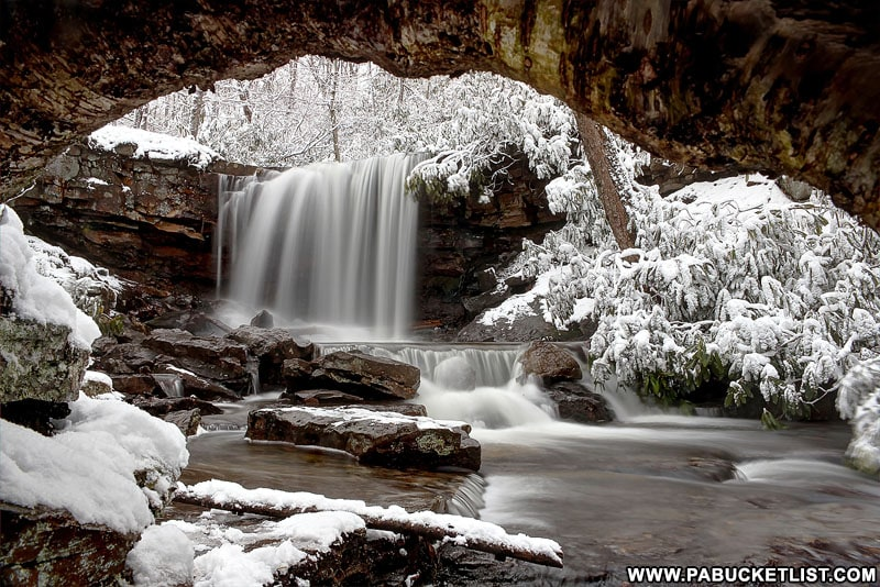 A snowy scene at Cole Run Falls in the Laurel Highlands.