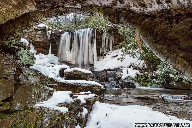 The partially frozen upper tier of Cole Run Falls in the Forbes State Forest.