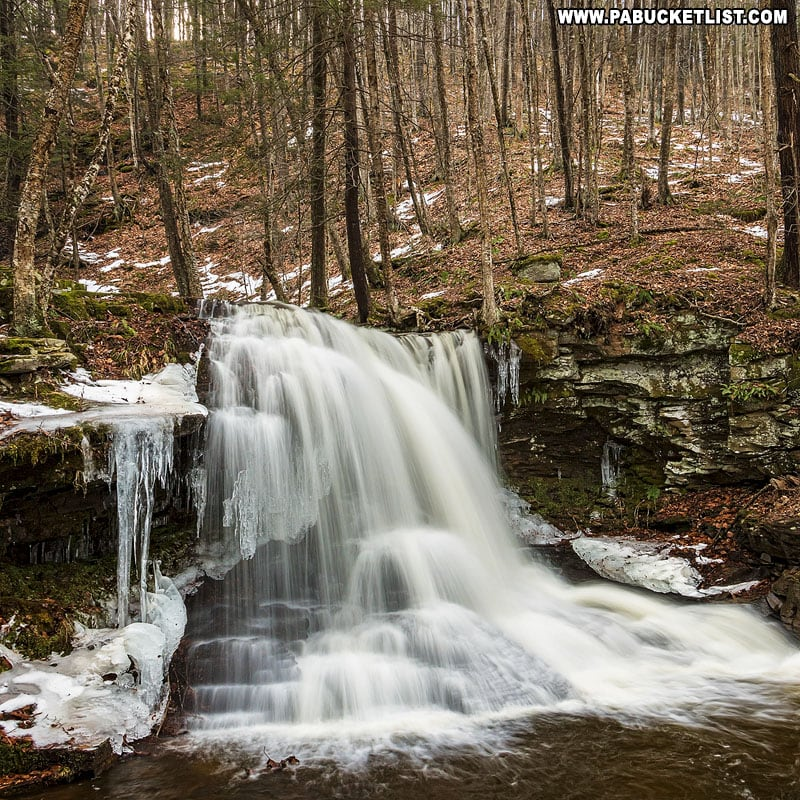 Snow and ice at Dry Run Falls in the Loyalsock State Forest