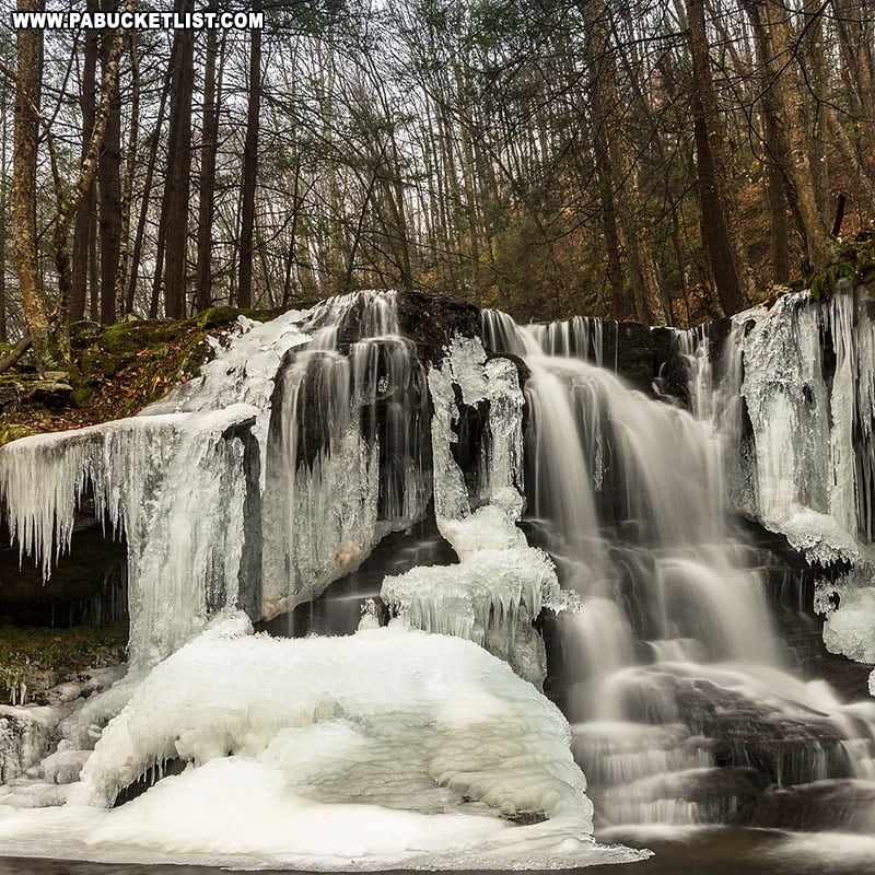 A winter scene at Dry Run Falls near Hillsgrove, PA