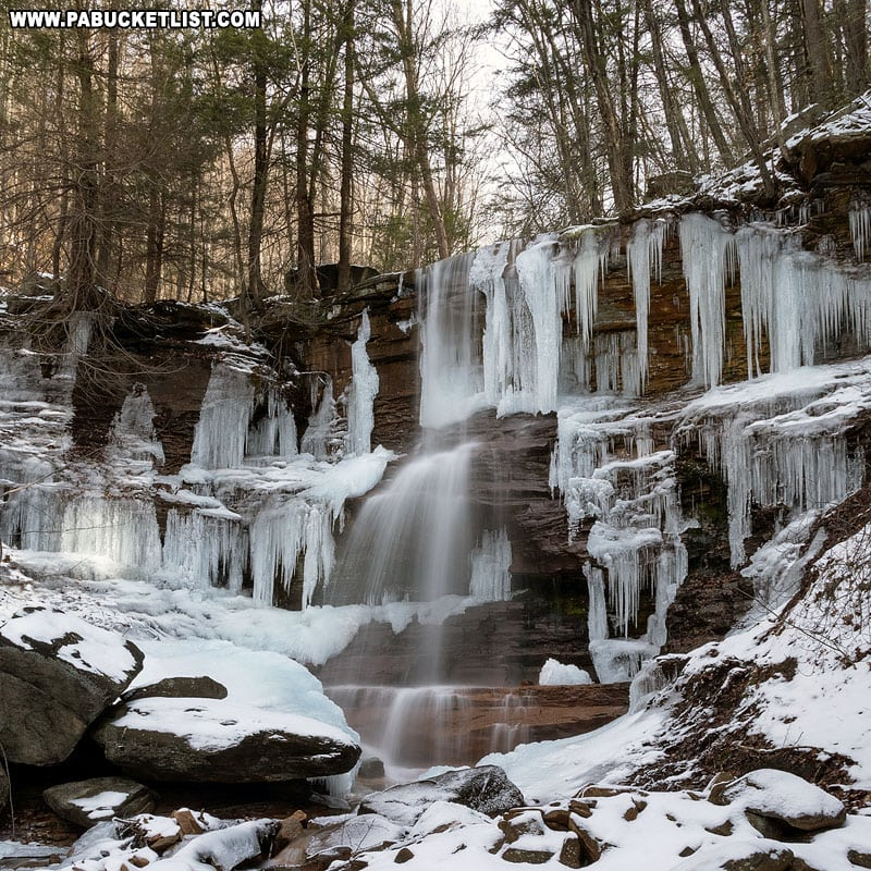 Dutchmans Run Falls in the McIntyre Wild Area on a winter day.