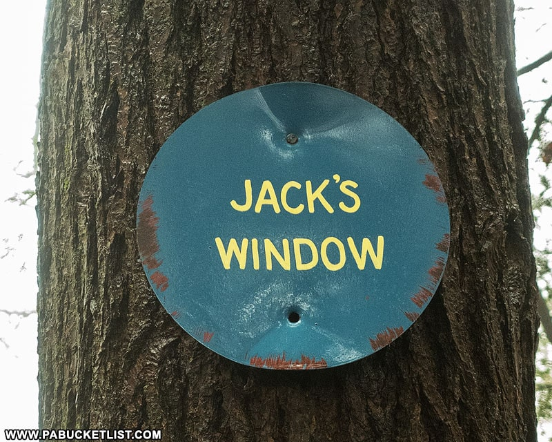 Jack's Window sign along the Loyalsock Trail.