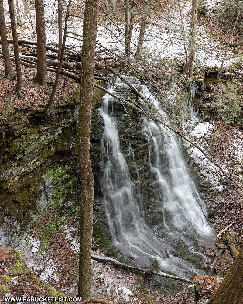 The view of Jerry Run Falls from the Bohen Trail.