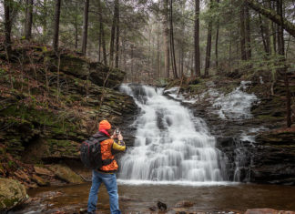 The author at Ketchum Run Falls in the Loyalsock State Forest.