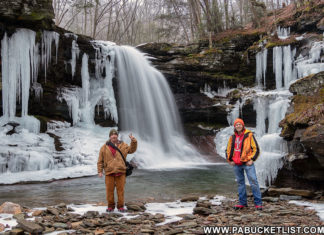 Steve Rubano and Rusty Glessner at the base of Lewis Falls on State Game Lands 13 in Sullivan County, PA.