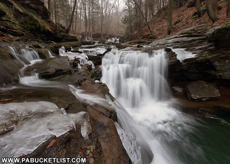 An early winter view of Lower Twin Falls on State Game Lands 13 in Sullivan County, PA.