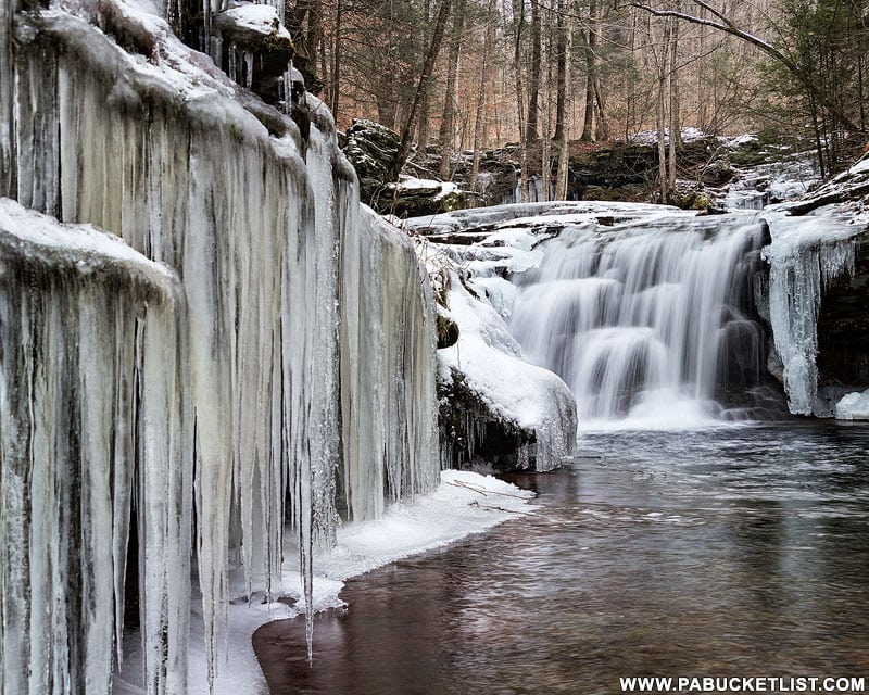 Ice formations around Lower Twin Falls on State Game Lands 13 in Sullivan County, PA.