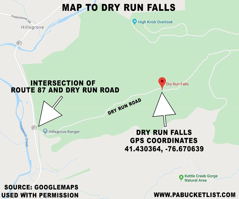 A map to Dry Run Falls in the Loyalsock State Forest.