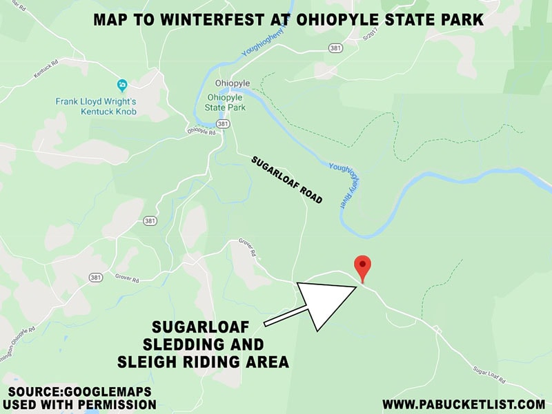 A map showing the location of Winterfest at Ohiopyle State Park along Sugarloaf Road.