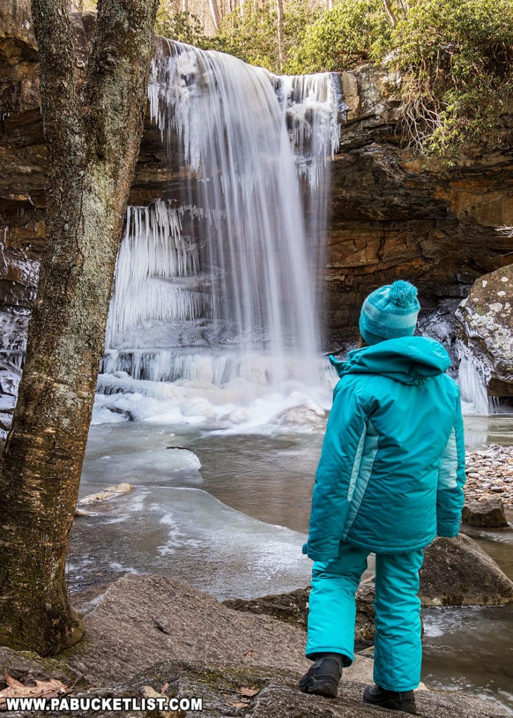Checking out Cucumber Falls during Winterfest at Ohiopyle State Park.