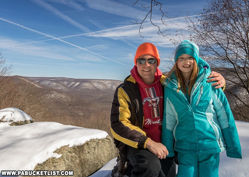 The author and daughter at Baughman Rock Overlook during Winterfest.