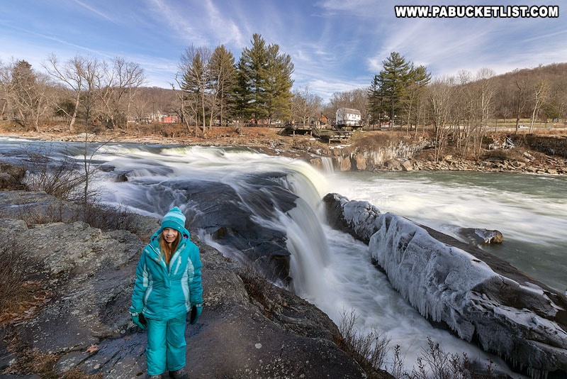 Hiking to Ohiopyle Falls along the Ferncliff Trail while attending Winterfest at Ohiopyle State Park.