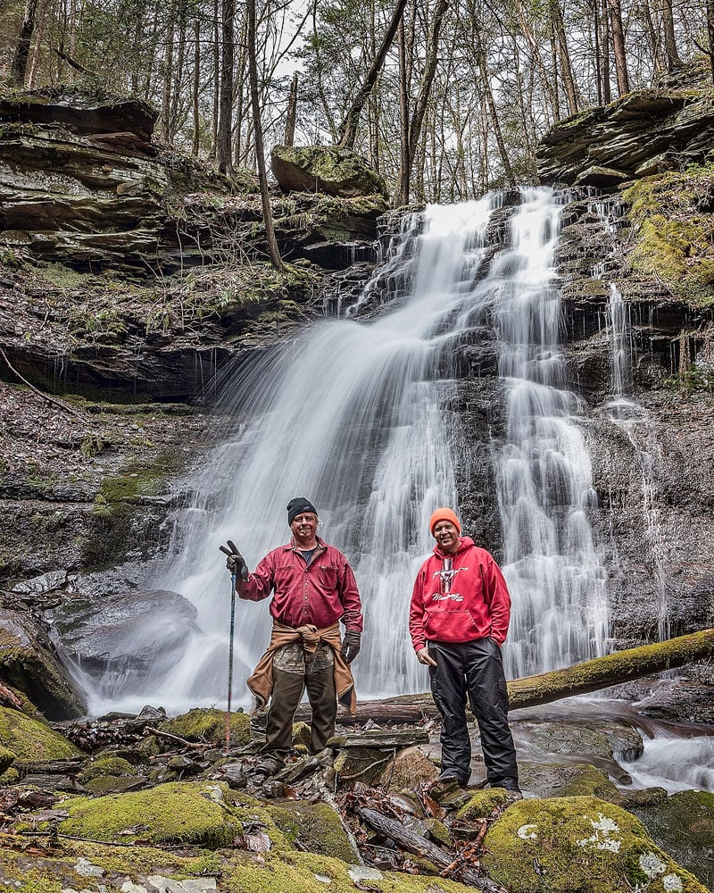 Photographers Steve Rubano and Rusty Glessner at the base of Bohen Run Falls.