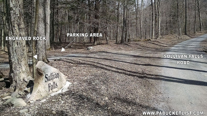 The parking area at Sullivan Falls along Sullivan Falls Road.