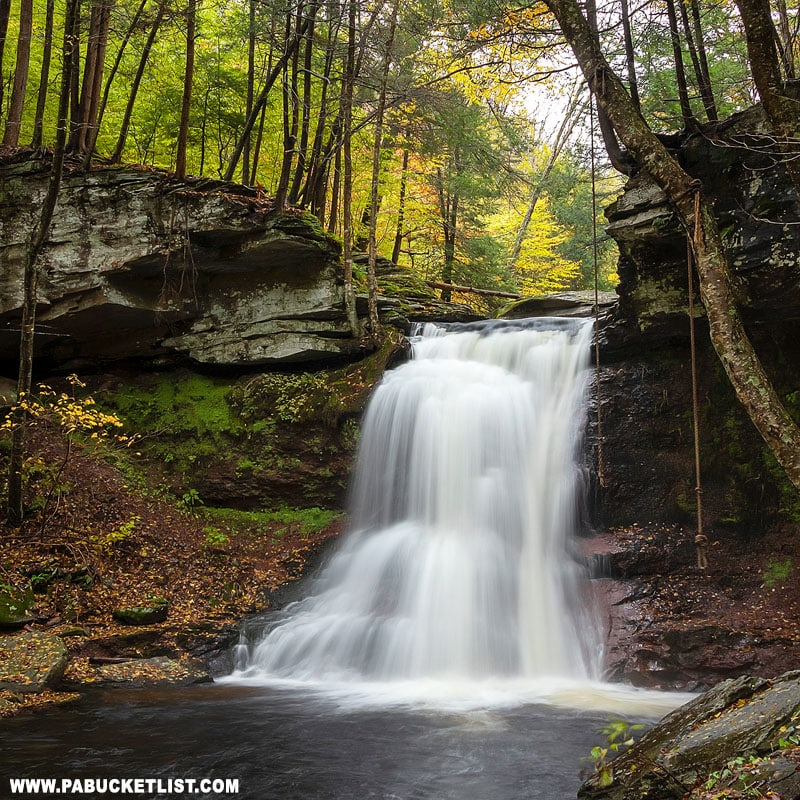 Fall foliage surrounding Sullivan Falls on State Game Lands 13.