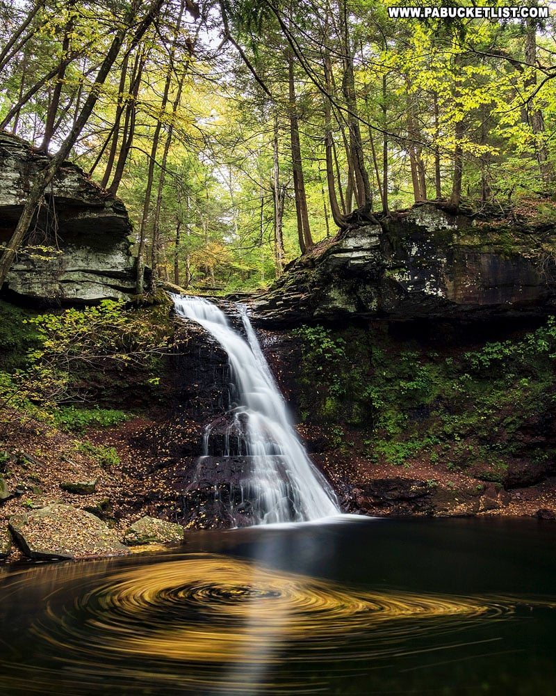 An October leaf swirl below Sullivan Falls.