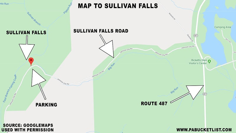 A map to Sullivan Falls on State Game Lands 13 in Sullivan County, PA.