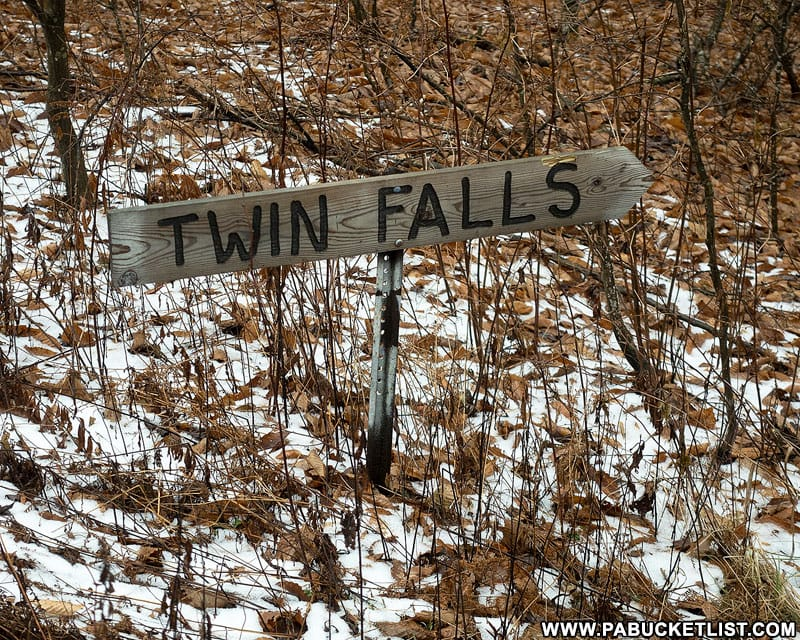 A sign at the unofficial trail head for Twin Falls on State Game Lands 13 in Sullivan County, PA..