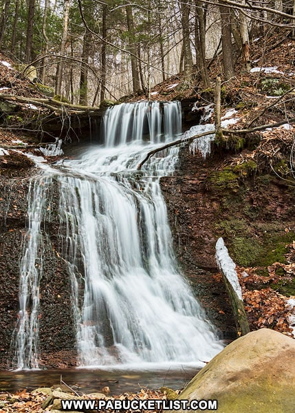 An unnamed waterfall just upstream from Twin Falls on State Game Lands 13 in Sullivan County, PA.