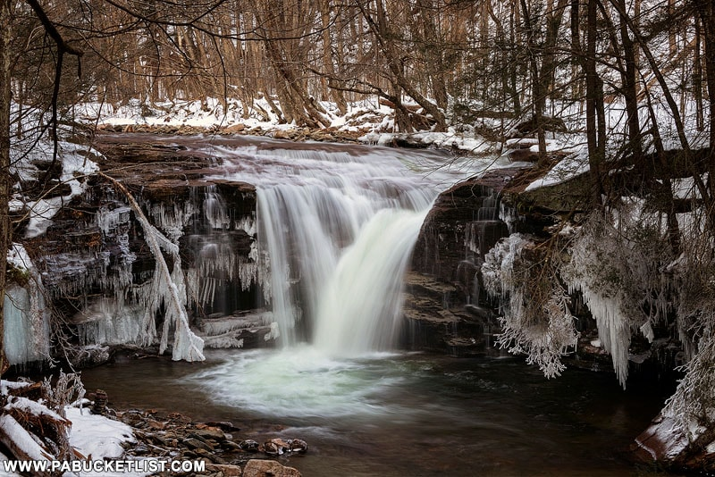 A winter view of Upper Twin Falls on State Game Lands 13 in Sullivan County, PA.