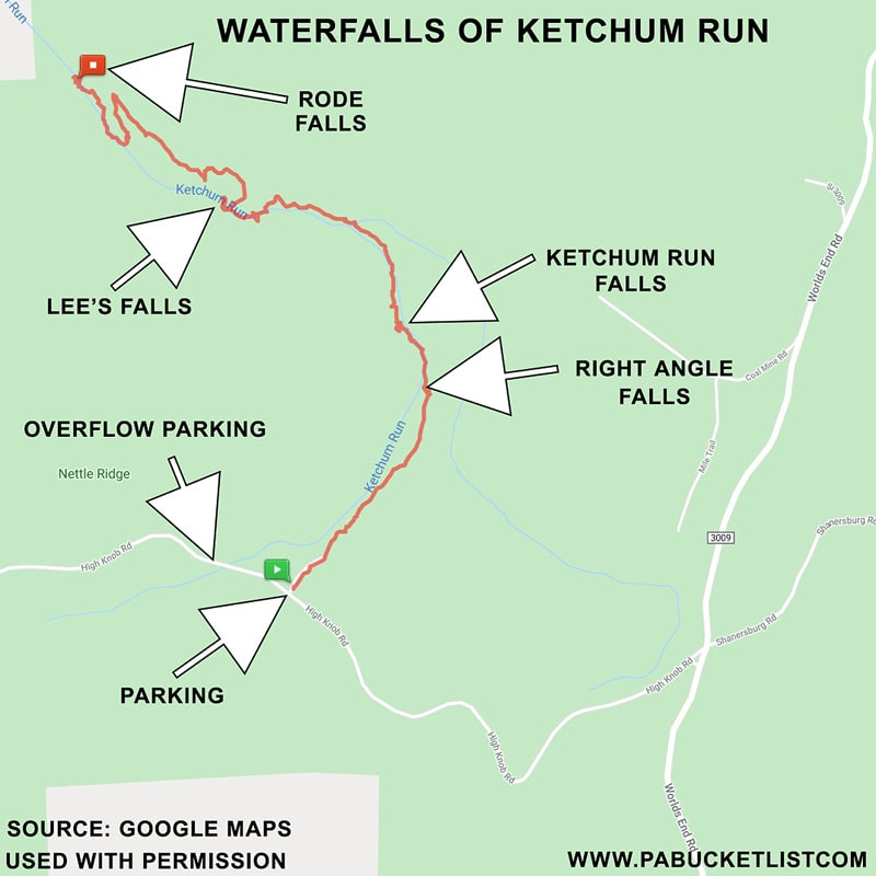 Map showing the location of the major waterfalls on Ketchum Run in the Loyalsock State Forest.