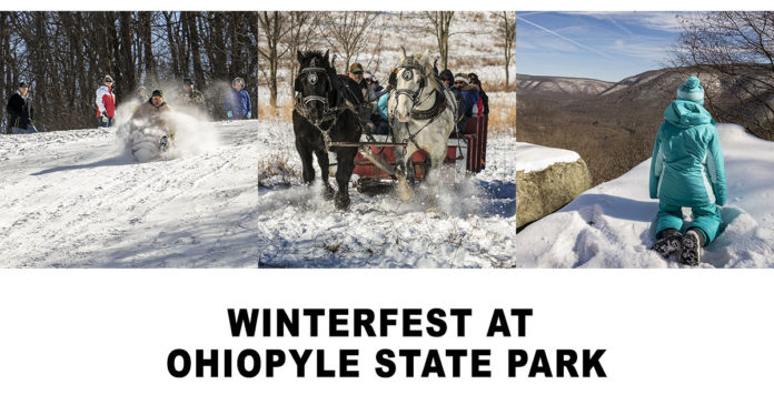Sled riding, sleigh riding, and hiking at Winterfest at Ohiopyle State Park.