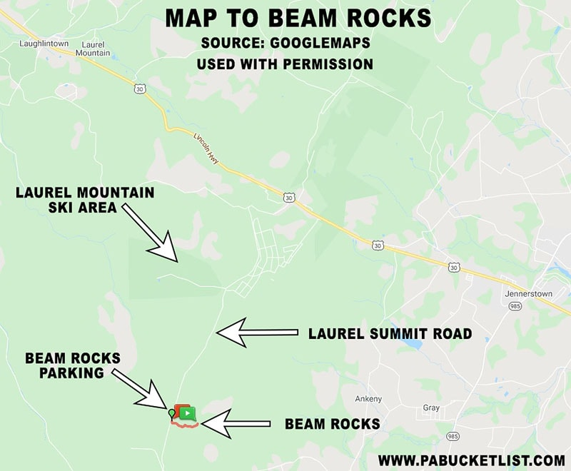 A map to Beam Rocks in the Forbes State Forest.