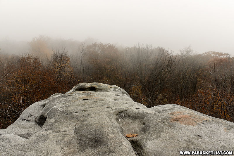 A foggy morning at Beam Rocks in Somerset County.