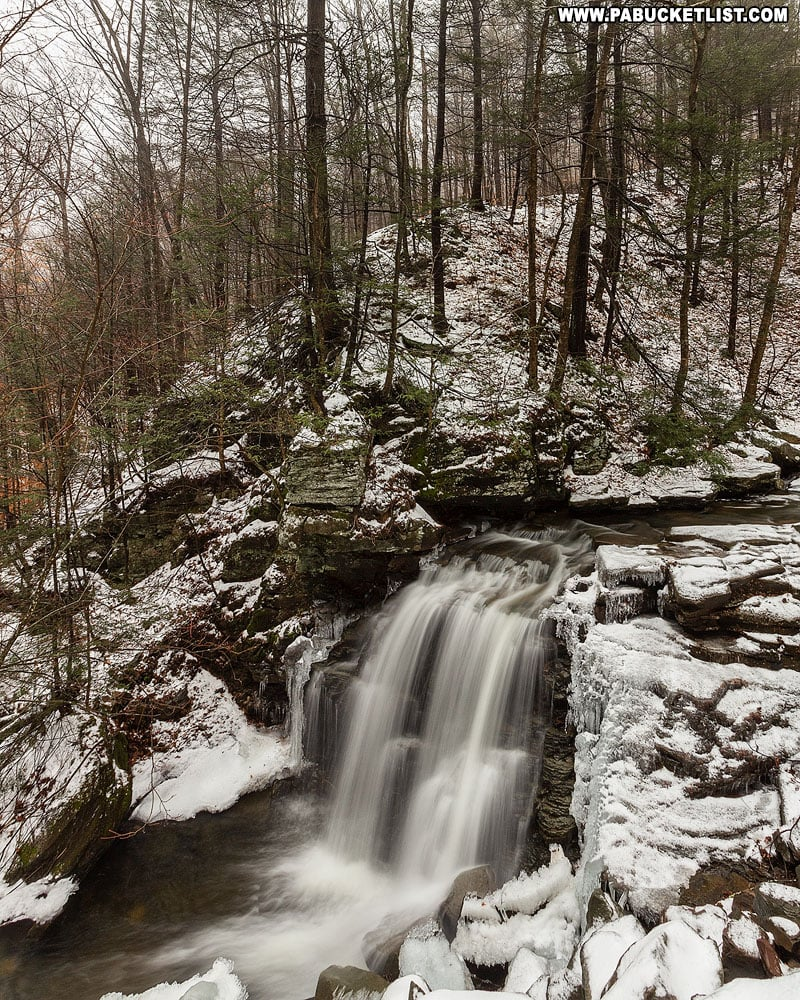 A winter view of Big Run Falls from Sullivan Falls Road.
