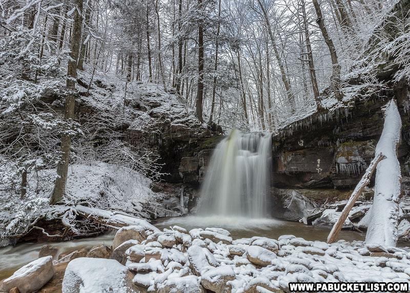 Fluffy white snow surrounding Blackberry Run Falls