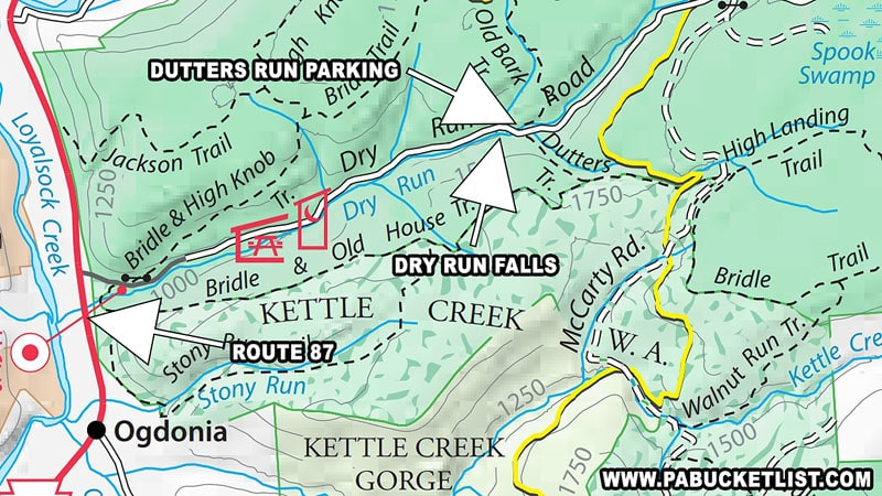 A map to the parking area for the Dutters Run waterfalls hike.