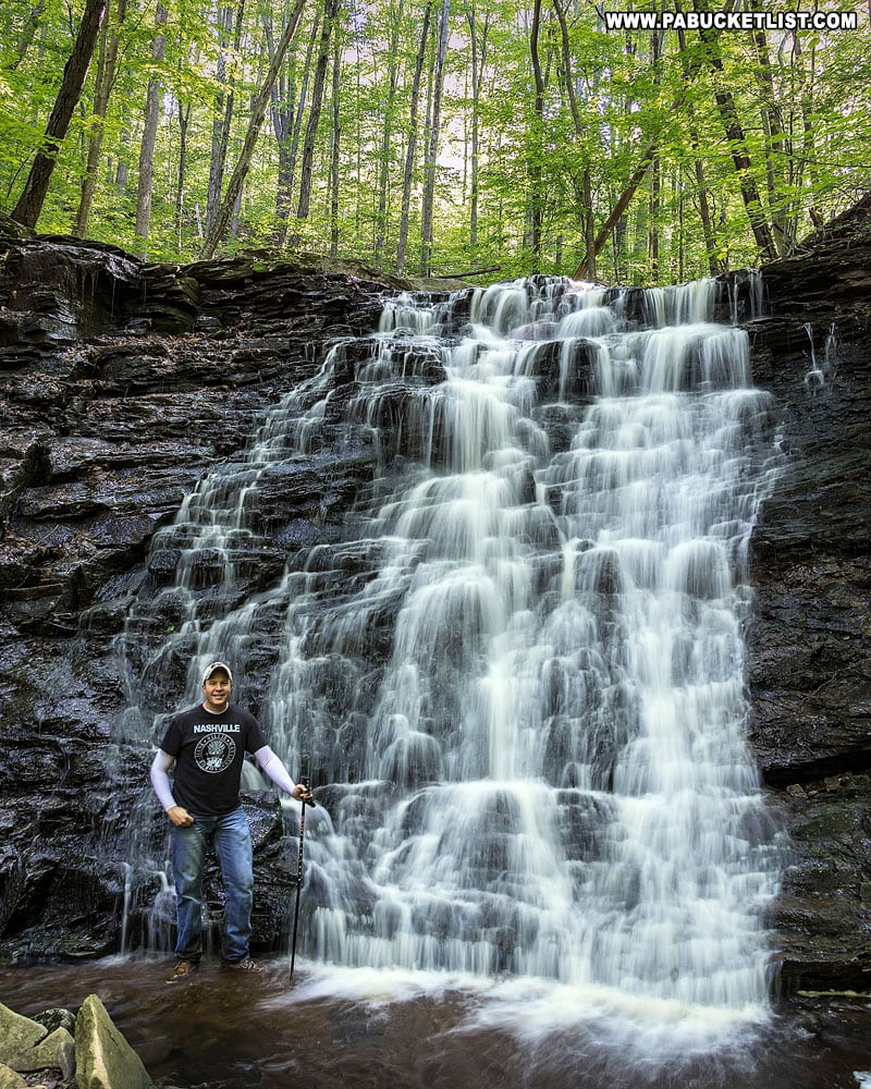 The author at Second Falls on Dutters Run in the Loyalsock State Forest.