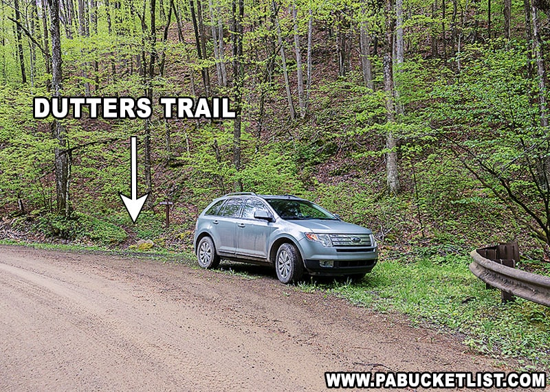 The parking area for Dutters Trail along Dry Run Road.