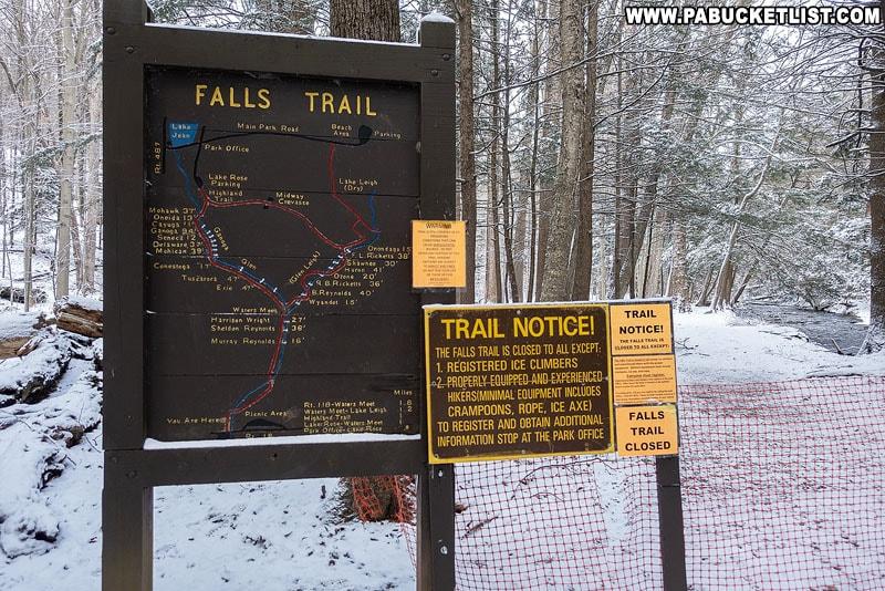 Falls Trail winter closure sign at Ricketts Glen State Park.