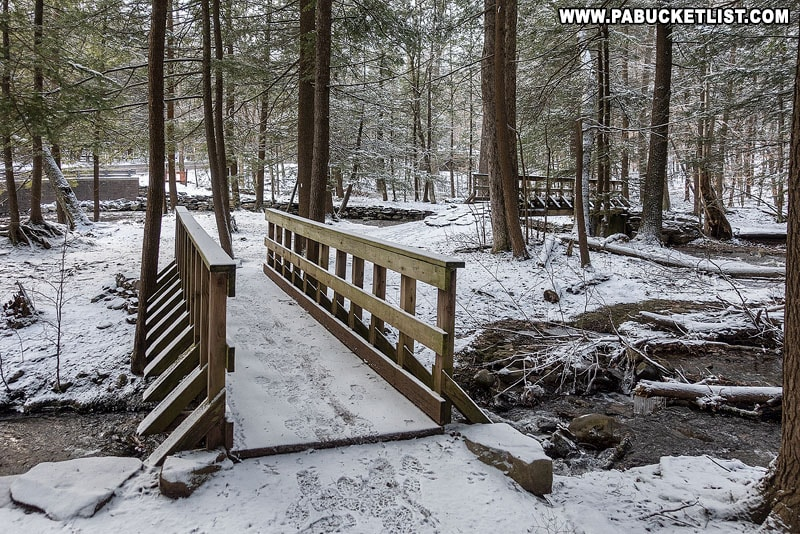 The twin bridges over Kitchen Creek near Route 118 at Ricketts Glen State Park.
