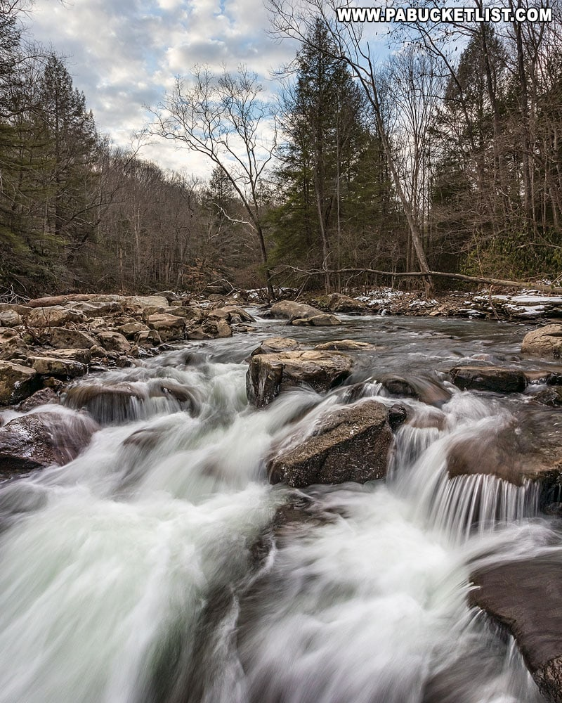 Unnamed cascades along Meadow Run at Ohiopyle State Park.