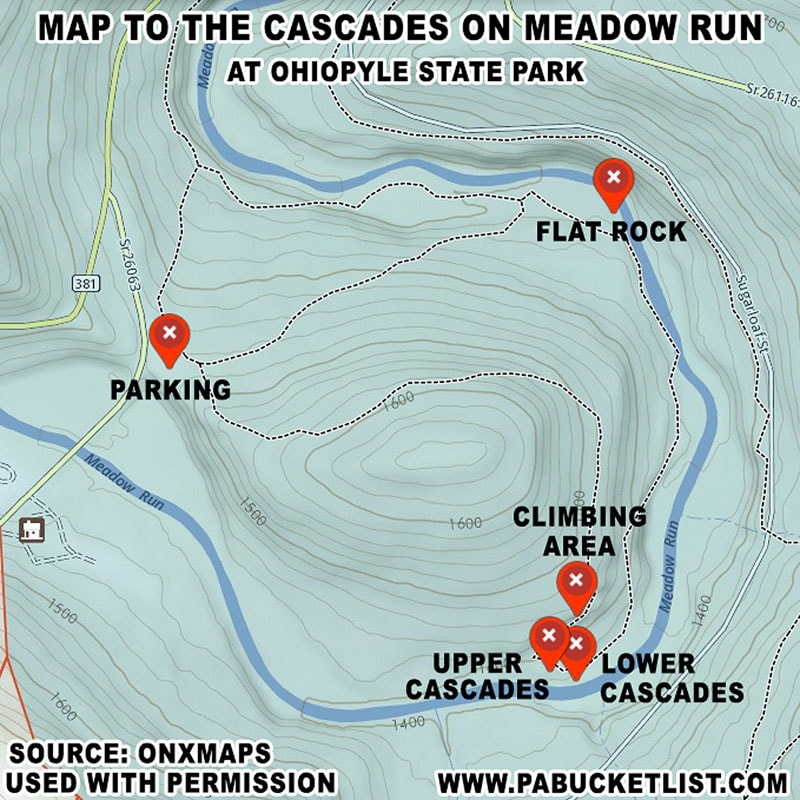 A map showing the location of the Cascades on Meadow Run at Ohiopyle State Park.