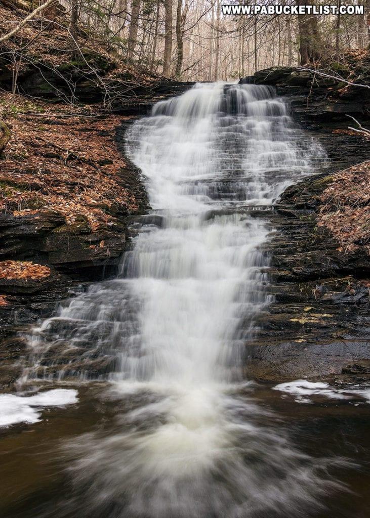 The uppermost public waterfall on Pigeon Run in Sullivan County
