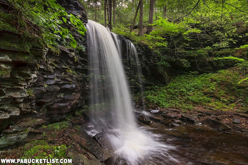 A side view of Pigeon Run Falls on State Game Lands 13.