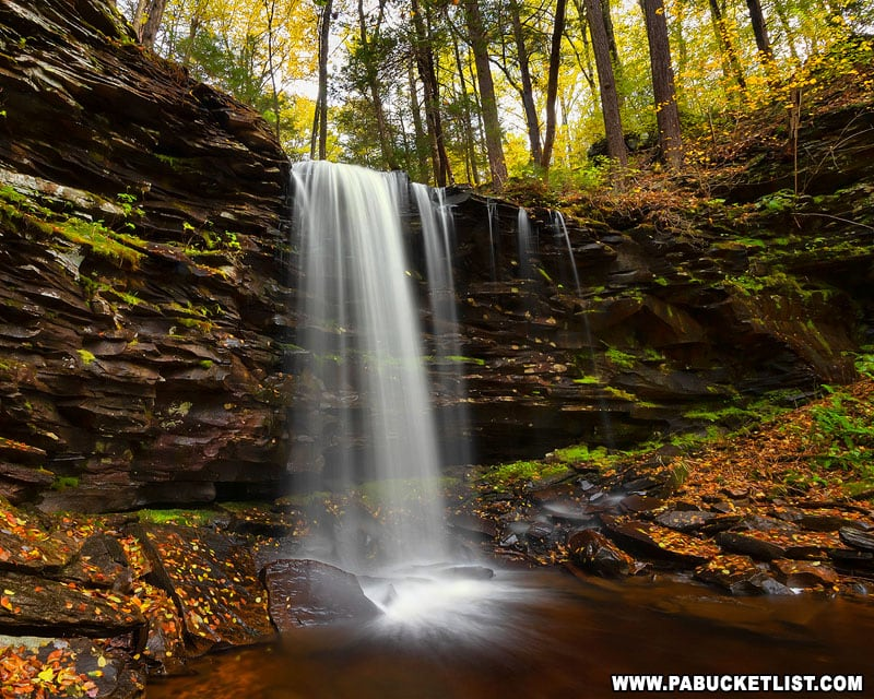 Pigeon Run Falls in Sullivan County surrounded by fall foliage.