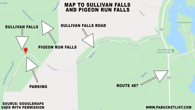 A map showing the location of Pigeon Run Falls on State Game Lands 13.