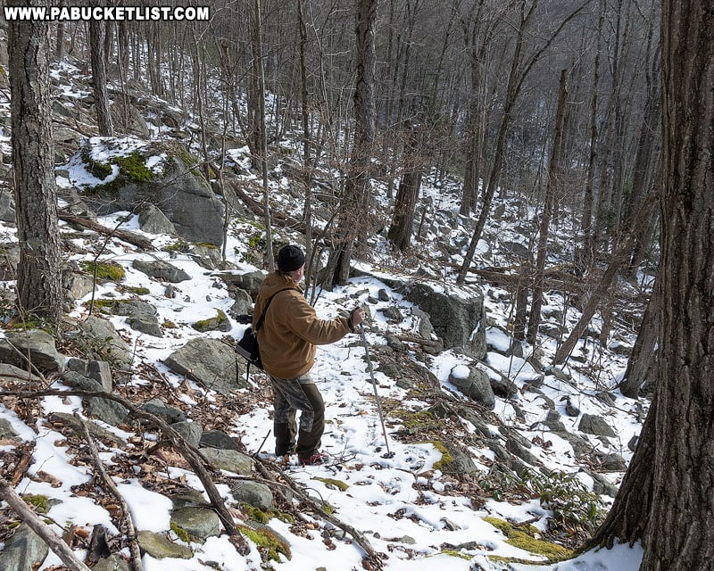 The off-trail route to Abbott Run Falls in the McIntyre Wild Area.