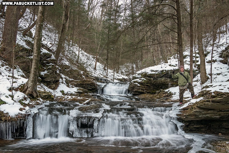 Photographer Steve Rubano at Quinn Run Falls on State Game Lands 13.