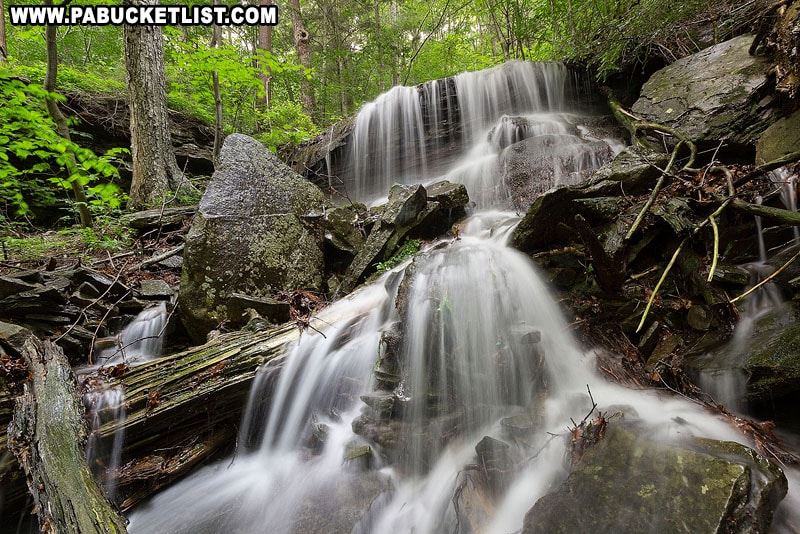 An unnamed waterfall along the Pigeon Run Falls Trail in Sullivan County.