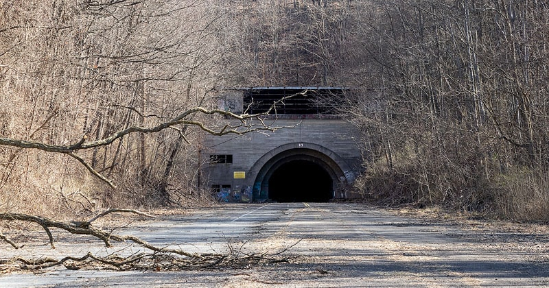 The western portal of Rays Hill Tunnel on the abandoned Pennsylvania Turnpike.